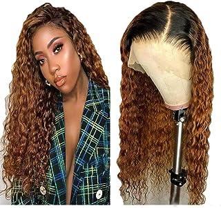 Brazilian Virgin Human Hair Wigs 150% Density Curly Bob Lace Front Human Hair Wigs Two Tone Lace Front Wigs Bob Lace Front...