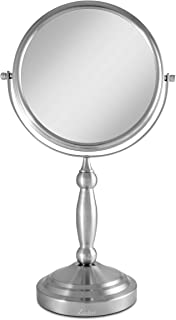 Zadro 10X/1X Magnification Two-Sided Swivel Vanity Makeup Mirror, Satin Nickel (VAN410)