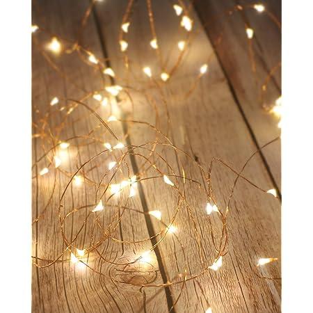 Litogo Guirlande Lumineuse, Girlande de Lumière 5M 50LED Guirlandes Lumineuses Piles Mini Led Intérieur Girlande de Lumière Decoration pour Chambre Noël Mariage Soirée Maison Jardin, Blanc Chaud