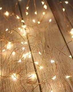 Litogo Guirnalda Luces Pilas, Luces LED Pilas[2 PCS], Luces LED Habitacion 5m 50 LED Luces de Cadena Micro con Pilas de Alambre de Cobre para Decoración Interior Bodas Fiesta de Navidad …