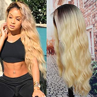 Figo & Donna Long Wavy Blonde Lace Front Synthetic Wig 22inch Black Roots with Baby Hair Glueless Heat Resistant with Straps As Human Hair For Black Fashion Women(with Wig Cap)