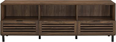 """Walker Edison Modern Slatted Wood 80"""" Universal TV Stand for Flat Screen Living Room Storage Cabinets and Shelves Entertainme"""