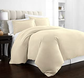 Beckham Hotel Collection Luxury Soft Brushed 2100 Series Microfiber Duvet Cover Set - Hypoallergenic - King/California King - Cream