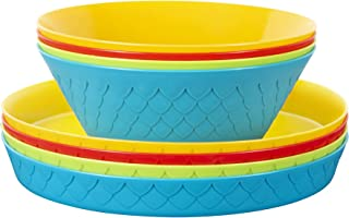 Plaskidy Kids Plastic Plates and Bowl Set - 4 Kids Bowls and 4 Kids Plates in Fun Bright Colors for Toddlers and Kids - Plastic Plates Reusable Dishwasher & Microwave Safe BPA Free for Kids & Toddler