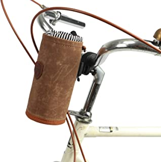 TOURBON Bike Handlebar Pouch Bicycle Water Bottle Drink Cup Holder - Canvas and Leather