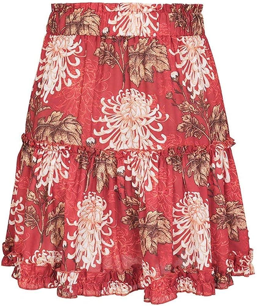 DORIC Women Casual Beach Floral Print A-line Elastic Waist File Ruffle Short Skirt