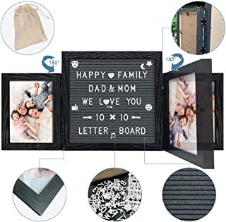 Emeyart Felt Letter Board 10x10 Changeable LetterBoards with White Letters, Additional Symbols and Emojis, Message Board Include Black Picture Frames, Felt Boards Wall Mount or Tabletop Stand Display