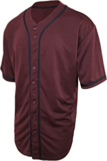 OLLIE ARNES Men's Athletic-Inspired Basic Button-Down Baseball Jersey