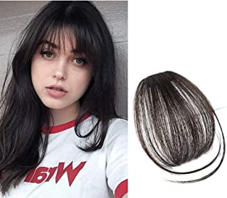 Clip in Human Hair Bangs Hair Piece for Women Natural Real Hair Clip Hair Extension in Fringe Straight Bangs with Temples...