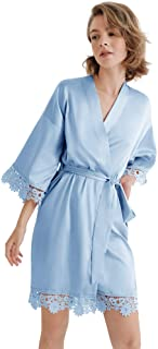 SIORO Women's Satin Robe Lace Silk Kimono Robes Short for Bridesmaid Wedding Party Nightgown, Small~X-Large