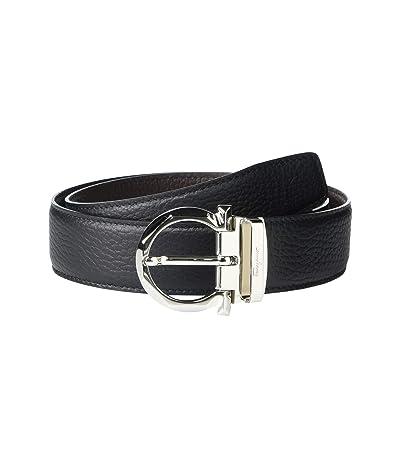 Salvatore Ferragamo Adjustable Reversible Belt 67A259 (Black/Hickory) Men