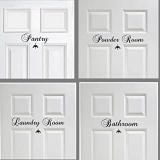 Laundry Room, Pantry, Bathroom or Powder Door Decor Vinyl Wall Decal Set of 3, You choose, mix and match Great House Warming Gift Wall Decor