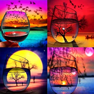 M-Aimee 4 Pack 5d Diamond Painting Kits for Adults Kids Cup Sunset Tree Set,Full Drill Diamond Embroidery Arts Craft for Home Wall Decor, 30x30CM/11.8X11.8inch