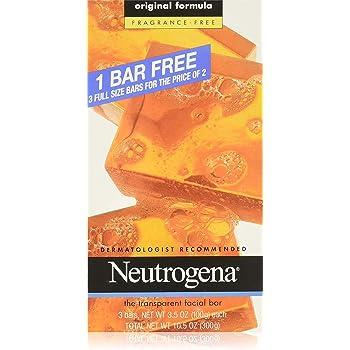 Neutrogena Transparent Facial Bar Unscented Pack, 3 Count (Pack of 6)