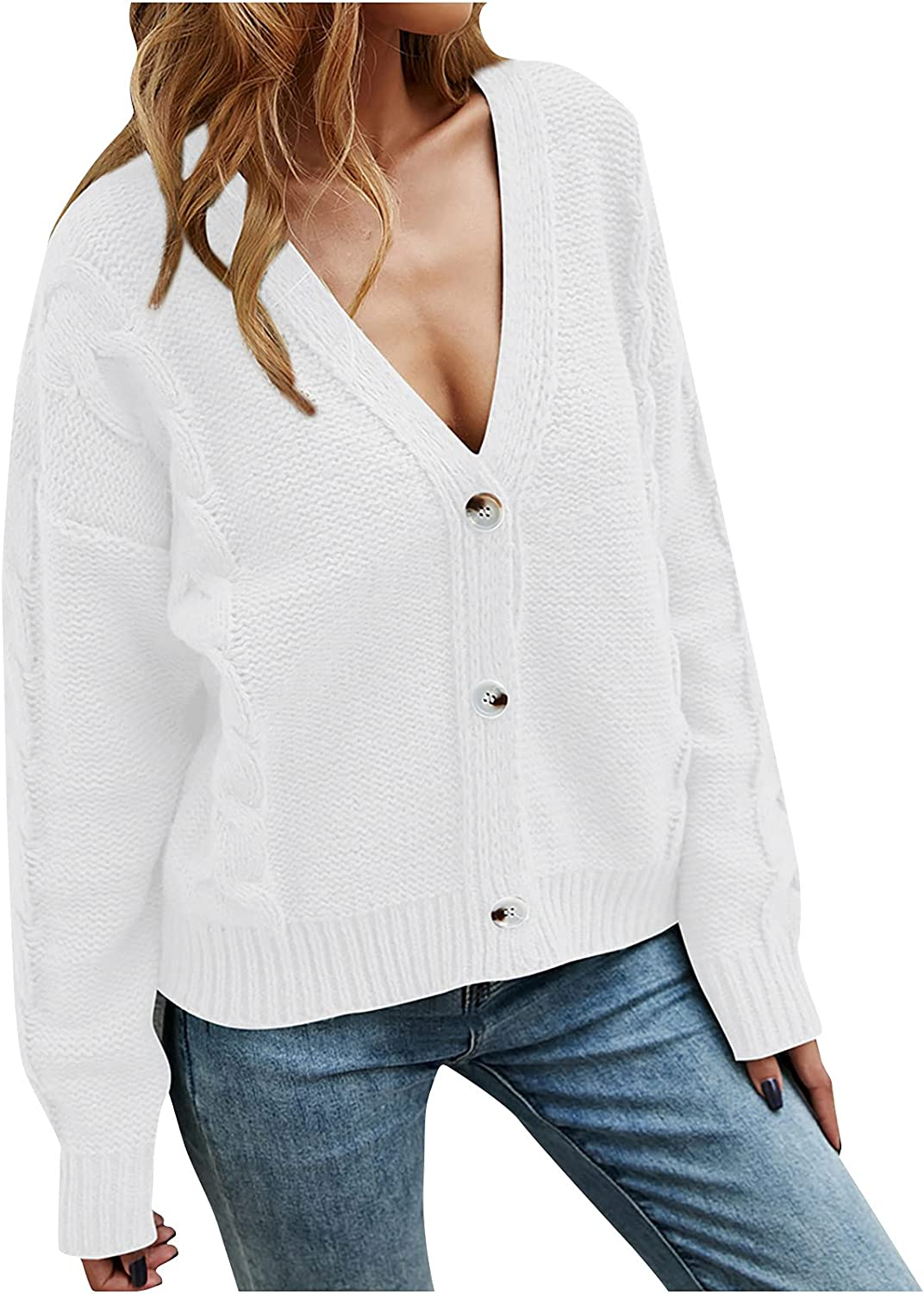 RFNIU Womens V Neck Cardigan Fashion Cable Knit Sweater Open Front Chunky Long Sleeve Buttons Kimono Tops Outerwear