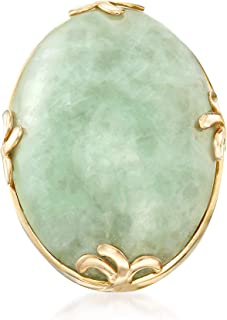 Cabochon Jade Ring in 18kt Gold Over Sterling