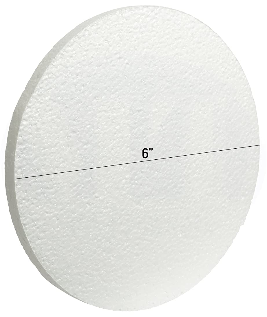 White Circle EPS Foam Craft 1/2 in Thick Discs by MT Products (6 Inch x 1/2 Inch)(15 Pieces)