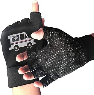 large-scale Mail Truck Mailman Finger Fingerless Gloves Outdoor Men`s/Women`s Mountain Bike Gloves Anti Slip Shock Absorbing Gel Pad Half Finger Gloves BlackOne Size