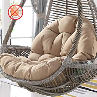 Tina's Wicker Rattan Hanging Egg Chair Pads,Non-Slip Soft Swing Chair Cushion Without Stand Indoor Balcony Pad Garden-Khaki 120x86x15cm(47x34x6inch)
