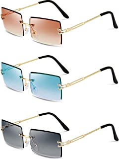 3 Pairs Rimless Rectangle Sunglasses Tinted Frameless Eyewear Vintage Transparent Rectangle Glasses for Women Men