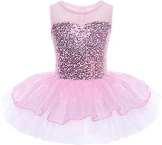 TiaoBug Girls Sequins Glitter Gymnastic Ballet Dress Leotard Tutu Skirt Princess Dance Costumes