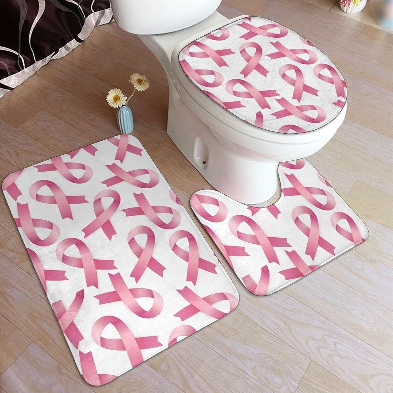 Pink Ribbon 5% OFF Bathroom Washable Non-Slip Set 3 Rug Piece latest