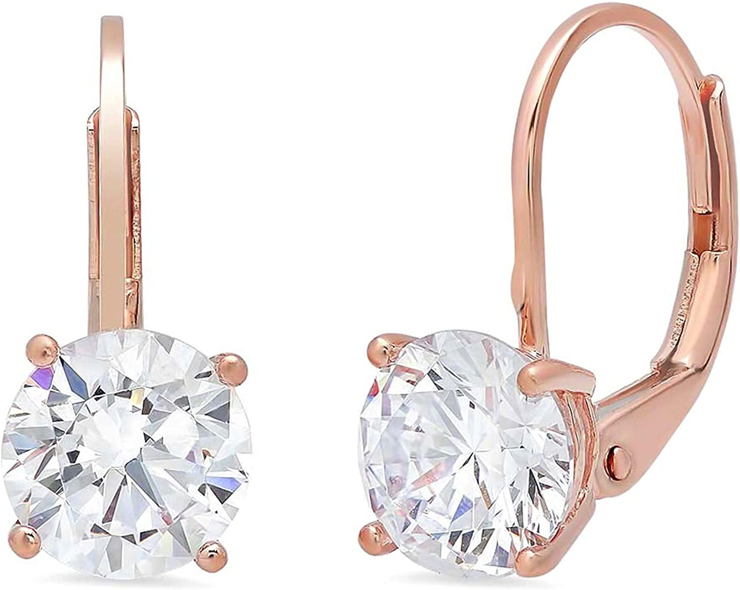 1.94cttw Round Cut VVS1 Ideal Gemstone Solitaire Genuine White Lab Created Sapphire Unisex Designer Lever back Drop Dangle Earrings Solid 14k Rose Gold