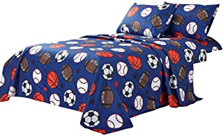 WPM Kids Collection Bedding 3 Piece Blue Twin Size Sheet Set with Flat Fitted Sheets Pillow sham Football Soccer Baseball ...
