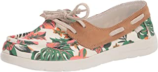 Sanuk womens Pair Sail Lite Floral Boat Shoe, White, 5 US