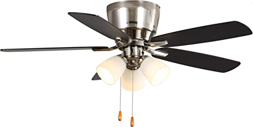 discount Indoor online sale Low Profile discount Ceiling Fan - FINXIN Brushed Nickel Pull Chain LED 48 Ceiling Fans For Bedroom,Living Room,Dining Room Including Motor,3-Light,5-Blades online
