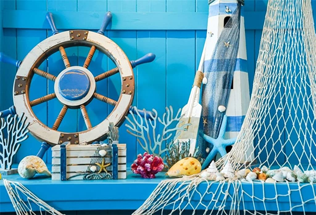 LFEEY 5x3ft Blue Wooden Wall Nautical Birthday Backdrop Seashells Sailing Ship Wheel Helm Fishing Net Starfish Summer Party Photography Background for Events Videos YouTube Photo Studio Props