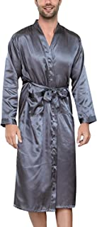 YAOMEI Mens Dressing Gown Kimono Bathrobe Satin Full Length, Mens Silky Long Sleeves Kimono Robes Pure Color Sleepwear Nig...