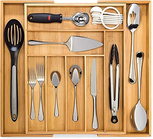 popular Dynamic Gear Bamboo Expandable Drawer Organizer, Premium 2021 Cutlery and Utensil Tray, 100% Pure Bamboo, Adjustable lowest Kitchen Drawer Divider outlet online sale