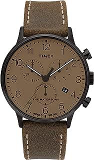 Timex Men's Waterbury Classic Chronograph Leather Strap Watch, Gunmetal/Moss/Tan (300VQ), One Size