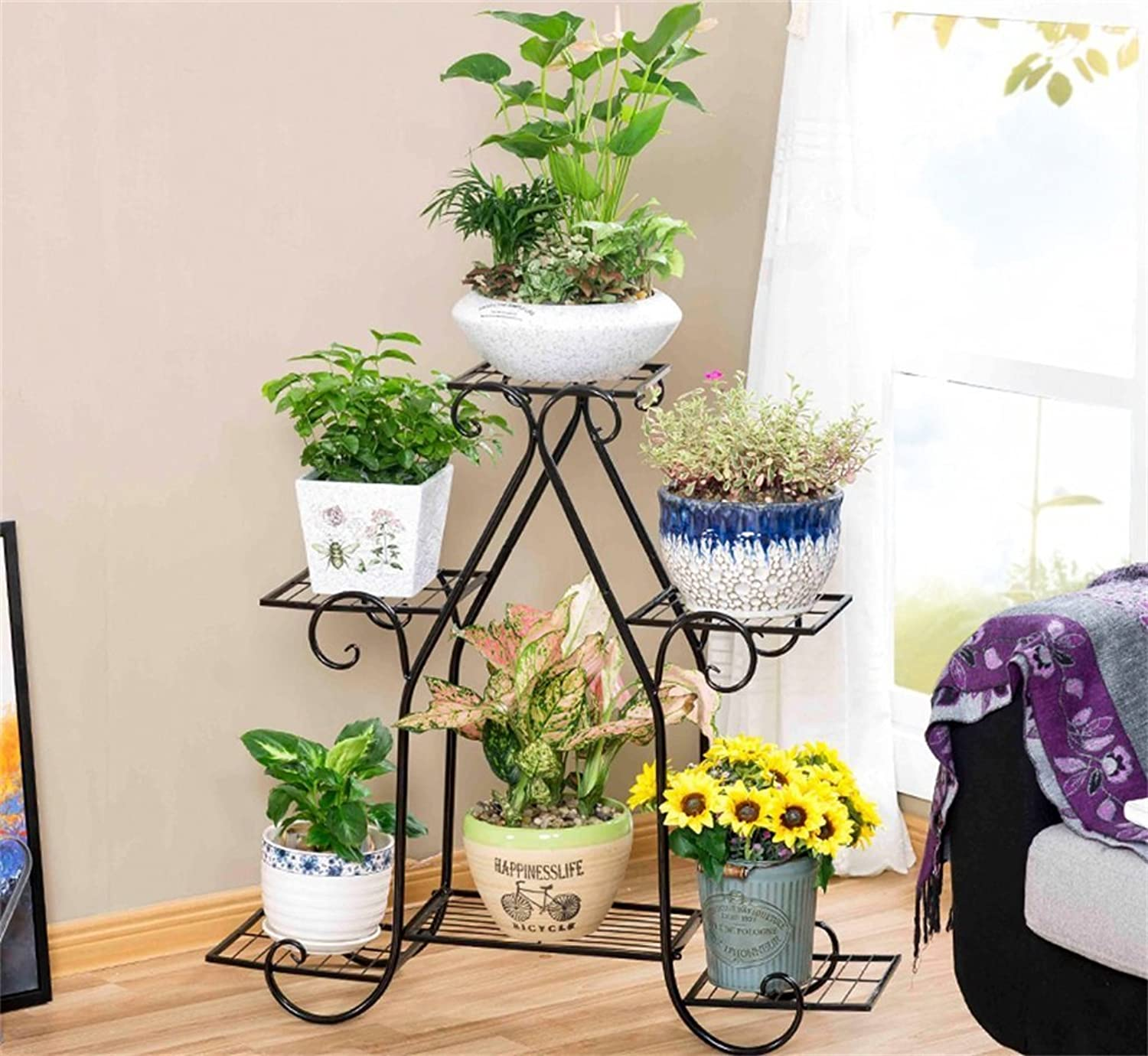 Flower Stand, Iron Multi-Functional Flower Dispaly Rack Balcony Living Room Indoor Flower Stand (Size  83  23  80cm) (color   A)