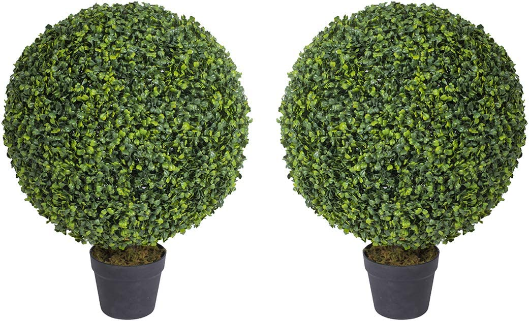 Binnny Flower Jacksonville Max 78% OFF Mall 2.3 FT Artificial Boxwood Topiary Ball Bushes Faux