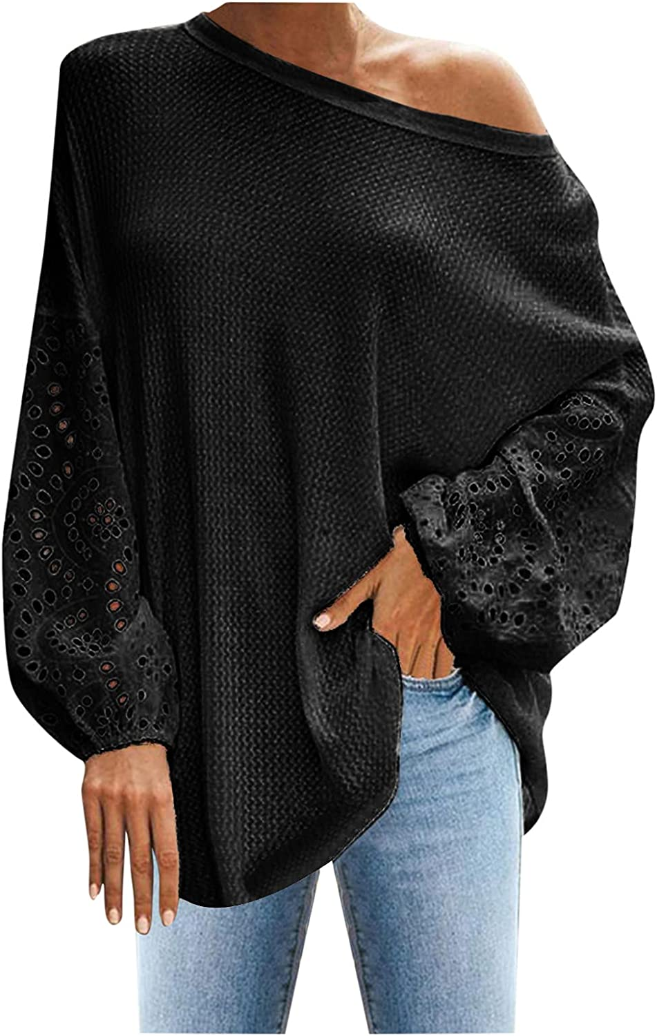 Long Sleeve Shirt Women, Womens Fashion Solid Off Shoulder Long Sleeve Casual Loose Crewneck Pullovers Tops