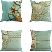 Set of 4 Nautical Sea Side Theme Cushion cover Sofa Pillow Case Home Office Car Decor Cotton Blend Linen Decorative Pillow Cover 18X18 Inch (4, 4 Pack Starfish and Conch)
