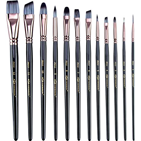 Tempera and Body Painting Watercolor Oil Painting Gouache Transon Art Paint Brush Set with Brush Case Assorted 16pcs for Acrylic