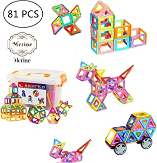 77 PCS Building Blocks Set Magnetic Tiles, DIY Creative STEM Building Block Preschool Educational Construction Kit 3D Magnetic Toys For Boys Girls Kids Toddlers Children With Storage Box