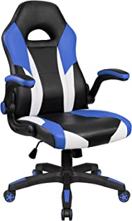 Homall PC Gaming Chair Racing Office Chair Ergonomic Computer Desk Chair Swivel Chair PU Leather High Back Chair for Adults with Flip Up Padded Arms (Blue)
