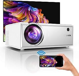 Proyector,YABER Mini Proyector WiFi,2021 Actualizado Proyector Portátil 5800 Lúmenes Soporta Full HD 1080P Vídeo Proyector Cine en Casa con Altavoces Estéreo HiFi,HDMI USB VGA SD PS4 (Blanco)