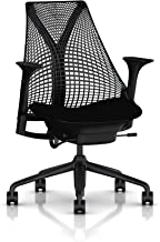 Herman Miller Sayl Ergonomic Office Chair with Tilt Limiter and Carpet Casters | Stationary Seat Depth and Arms | Black Frame with Black Rhythm Seat (Renewed)