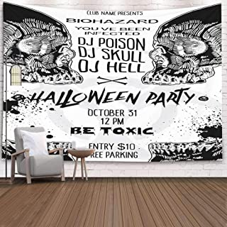 EMMTEEY Wall Tapestry, Tapestries Décor Living Room for Home by Printed 80X60 Inches for Large Halloween Black and White Invitation Poster Card with Skulls Background Printable Drawn,Orange Green