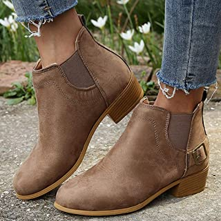 ✪COOLGIRLS✪~Shoes Fashion Women Round Toe Boots Pure Color Shoes Booties Buckle Strap Square Low Heel Single Shoes Ankle Booties Winter Warm Short Leather Boots