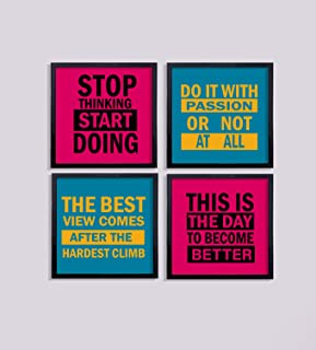 Art Gifts Solutions Set of 4 Wall Hanging Motivational Office Decor Framed Painting/Poster - Size 8x8 Inches,Frame Black
