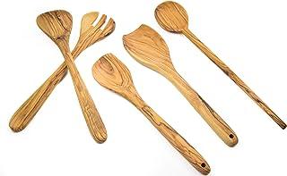 مجموعة أواني طهي لتقديم السلطة من خشب الزيتون من هولي لاند (مجموعة من الأواني 30.48 سم - 35.56 سم)