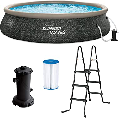 Summer Waves P1A01642E 16ft x 42in Round Quick Set Inflatable Ring Above Ground Swimming Pool with Ladder and Filter Pump, Da