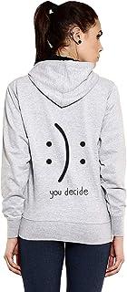 Goodtry G Women's Cotton Hoodies Back Print -You Decide-Grey Melange