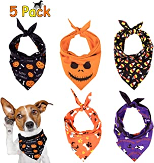 Whaline 5 Pack Halloween Dog Bandanas, Triangle Pet Scarfs Washable Pet Neckerchief Dog Bibs, Pumpkin, Ghost, Candy Corn and Bones Pet Bandanas